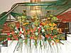 Корпоративное оформление живыми цветами и тканью