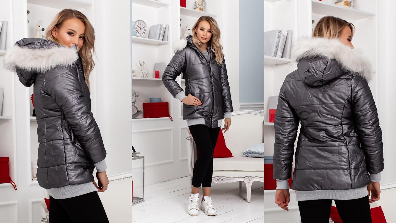 Женская теплая зимняя куртка из кожзама металлик на синтепоне и меху с капюшоном с мехом