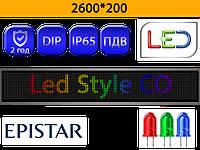 Бегущие строки P10 RGB 2600*200