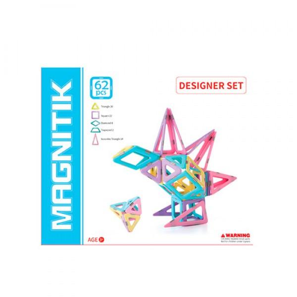 Магнитный конструктор с деталями нежных цветов (62 детали), MPH2-62