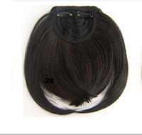 Аккуратная прямая накладная челка из искусственных волос, на двух заколках клипсах, термостойкая, цвет - №2