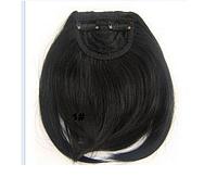 Аккуратная прямая накладная челка из искусственных волос, на двух заколках клипсах, термостойкая, цвет - №1