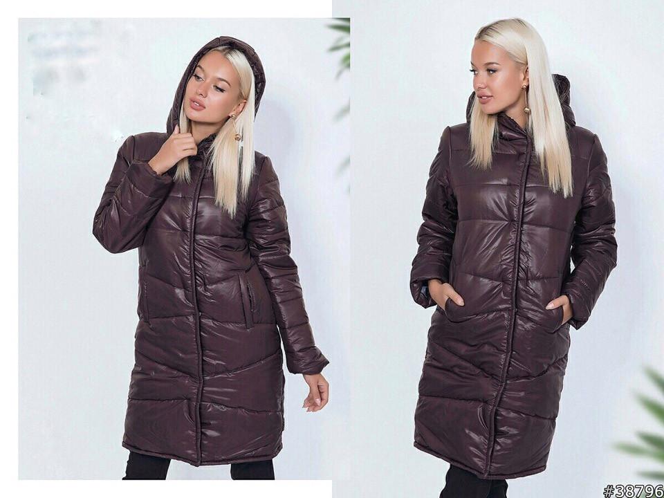 Теплое стеганое осенне-зимнее пальто куртка женское из плащевки с капюшоном