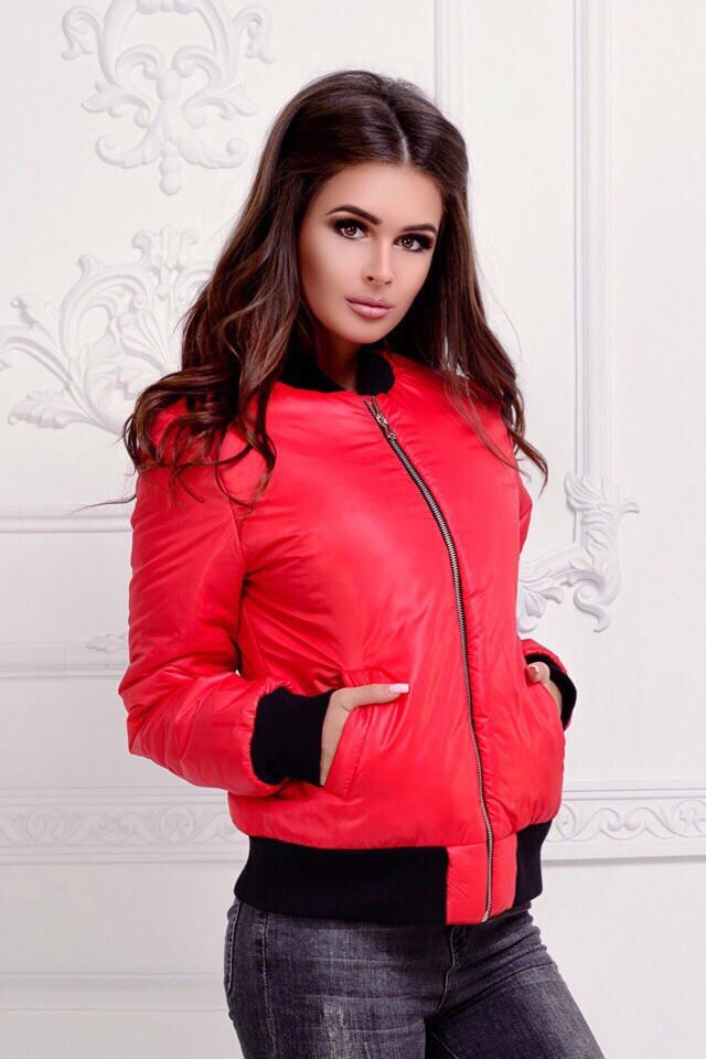 Модная женская куртка-бомбер на змейке с манжетами из резинки рибаны