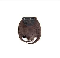 Аккуратная прямая накладная челка из искусственных волос, на двух заколках клипсах, цвет - №4