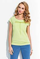 Блуза женская салатового цвета с принтом стрекоза. Модель R10 Sunwear, коллекция весна-лето 2015