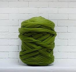 Толстая, крупная пряжа 100% шерсть 1кг (40м). Цвет: Болотный. 28 мкрн. Топс. Лента для пледов