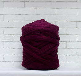 Толстая, крупная пряжа 100% шерсть 1кг (40м). Цвет: Бордо. 28 мкрн. Топс. Лента для пледов