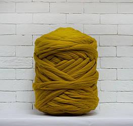 Толстая, крупная пряжа 100% шерсть 1кг (40м). Цвет: Горчица. 28 мкрн. Топс. Лента для пледов