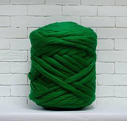 Толстая, крупная пряжа 100% шерсть 1кг (40м). Цвет: Изумрудный. 28 мкрн. Топс. Лента для пледов