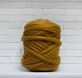 Толстая, крупная пряжа 100% шерсть 1кг (40м). Цвет: Карамельный. 28 мкрн. Топс. Лента для пледов