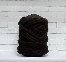 Толстая, крупная пряжа 100% шерсть 1кг (40м). Цвет: Кофе. 28 мкрн. Топс. Лента для пледов
