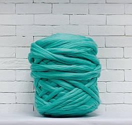 Толстая, крупная пряжа 100% шерсть 1кг (40м). Цвет: Мятный. 28 мкрн. Топс. Лента для пледов