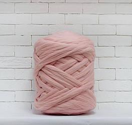 Толстая, крупная пряжа 100% шерсть 1кг (40м). Цвет: Пудра. 28 мкрн. Топс. Лента для пледов