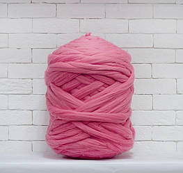 Толстая, крупная пряжа 100% шерсть 1кг (40м). Цвет: Розовый. 28 мкрн. Топс. Лента для пледов
