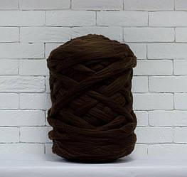 Толстая, крупная пряжа 100% шерсть 1кг (40м). Цвет: Шоколад. 28 мкрн. Топс. Лента для пледов
