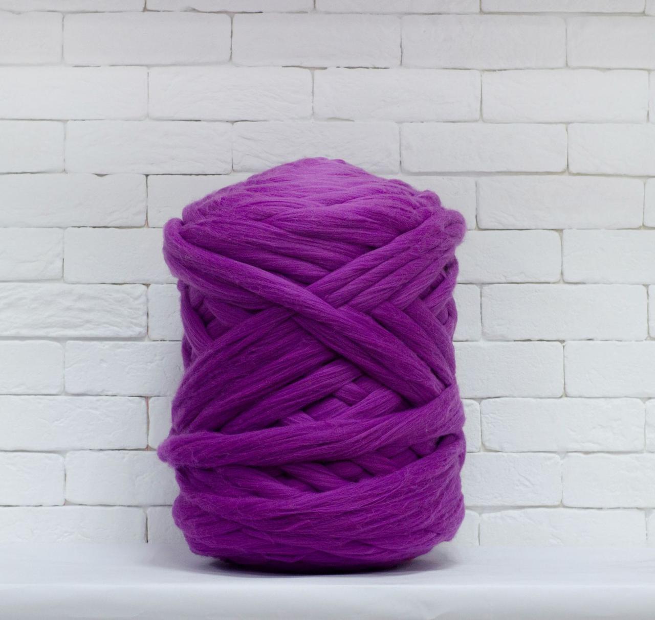 Толстая, крупная пряжа 100% шерсть 1кг (40м). Цвет: Сирень. 28 мкрн. Топс. Лента для пледов