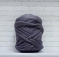 Толстая, крупная пряжа 100% шерсть 1кг (40м). Цвет: Стальной. 28 мкрн. Топс. Лента для пледов