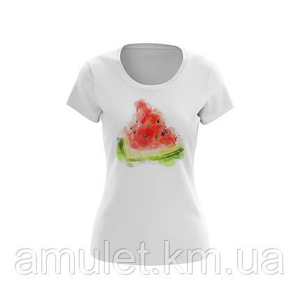 """Жіноча футболка однотонна-біла з принтом """"Кавун"""" бавовняна, фото 2"""