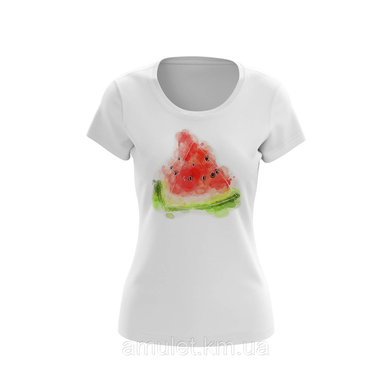 """Женская футболка однотонная белая с принтом """"Арбуз"""" хлопковая"""