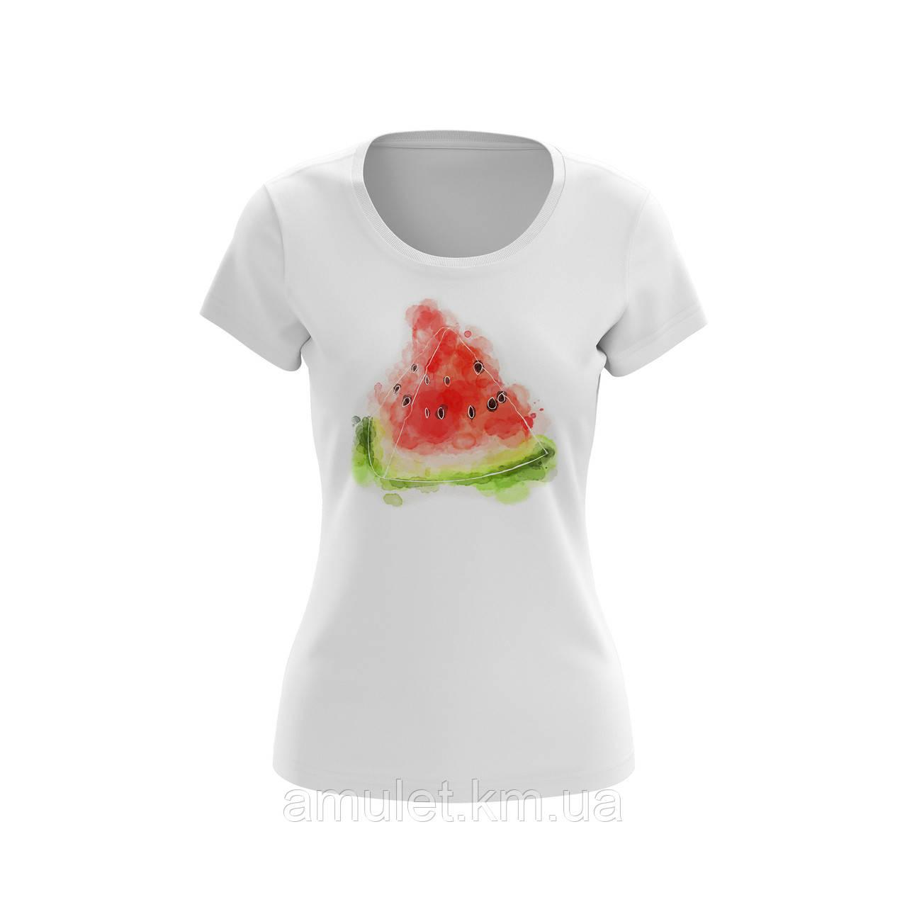 """Жіноча футболка однотонна-біла з принтом """"Кавун"""" бавовняна"""