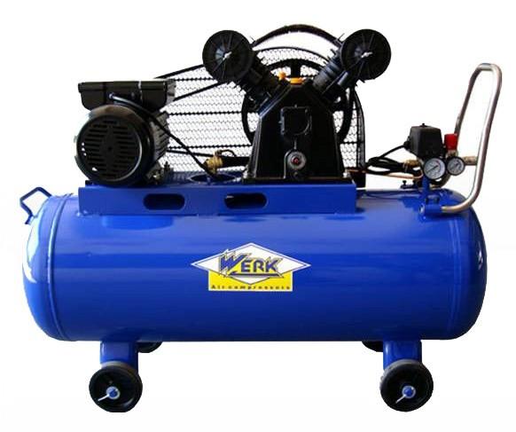 Компрессор электрический ременной Werk VBM 100 V-образный для покраски авто и шиномонтажа