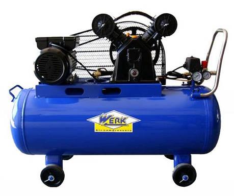 Компрессор электрический ременной Werk VBM 100 V-образный для покраски авто и шиномонтажа, фото 2