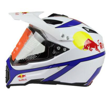 Белый кроссовый с визором эндуро мото шлем  Dot мотошлем Red Bull