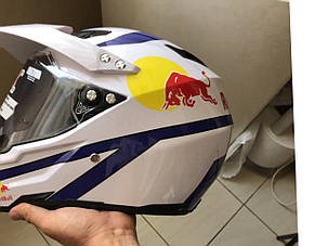 Белый кроссовый с визором эндуро мото шлем  Dot мотошлем Red Bull, фото 2