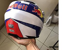 Белый кроссовый с визором эндуро мото шлем  Dot мотошлем Red Bull, фото 3