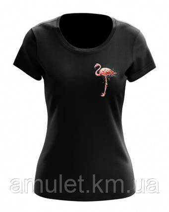"Футболка женская с рисунком ""Фламинго на сердце"", фото 2"
