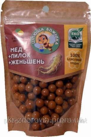 Медовые драже целебная пчелка, мед, пыльца,женьшень 150 г