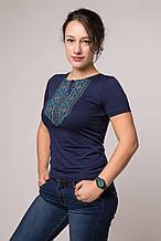 Жіноча футболка Мережка бірюза на синьому