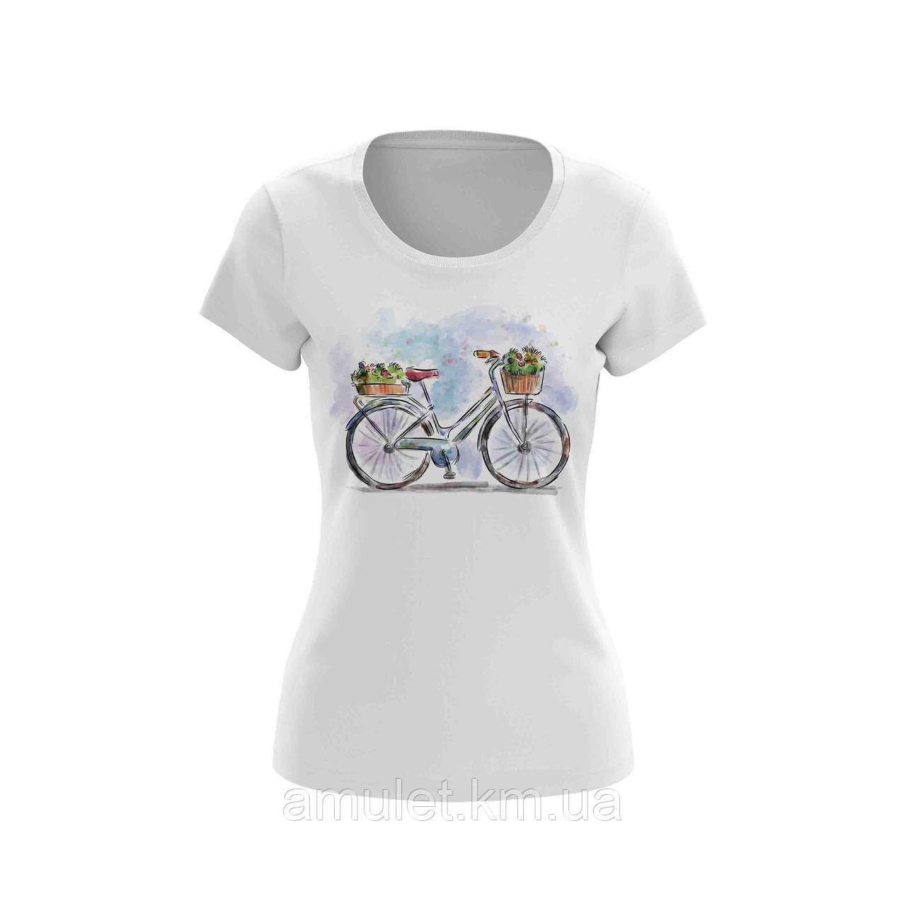 """Футболка женская белая с рисунком """"Велосипед с корзиной"""""""