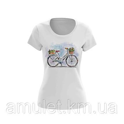 """Футболка женская белая с рисунком """"Велосипед с корзиной"""", фото 2"""