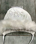 Плащевая белая шапка для девочки  р-ры 48, фото 2