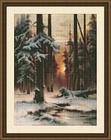 Набор для вышивки крестом Закат в зимнем лесу Ю 0207