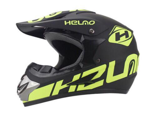Черно-салатовый матовый Кроссовый мото шлем Helmo  (эндуро, даунхил)