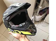 Черно-салатовый матовый Кроссовый мото шлем Helmo  (эндуро, даунхил), фото 3