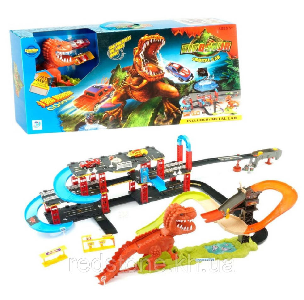 Трек Динозавр Рекс 8899-93 (Hot Wheels) + 2машинки, длина 1,2 метра