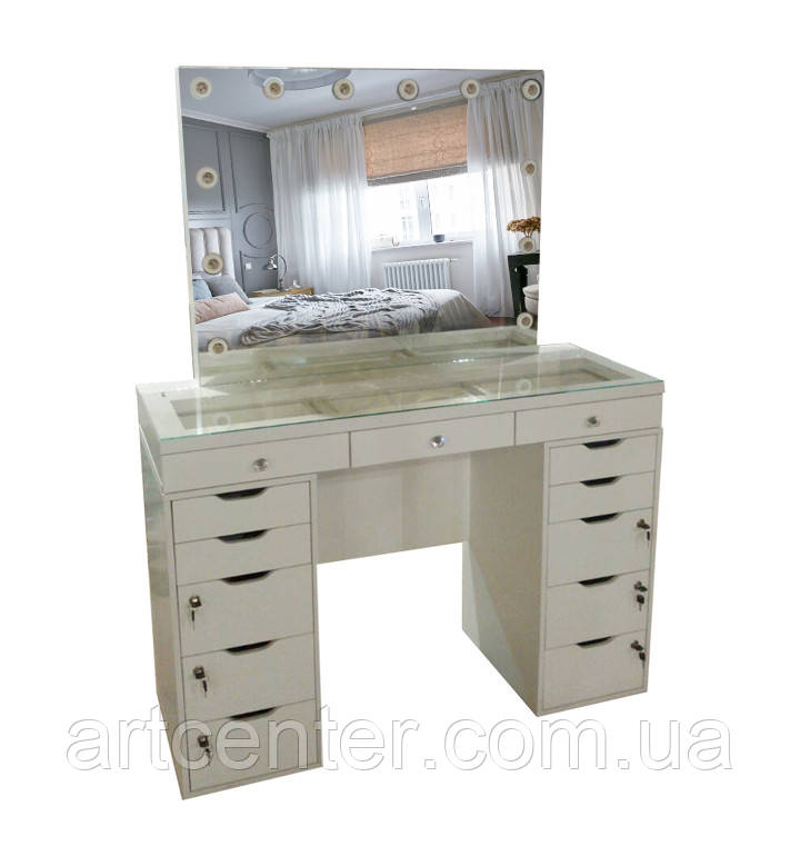 Стол для визажиста с витриной в столешнице, туалетный столик, гримерный стол с 2 тумбами, зеркало подсветка