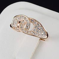 Шикарное кольцо с кристаллами Swarovski, и позолотой 0214
