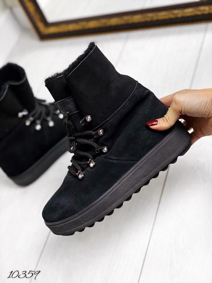 Ботинки зима чёрный замш на шнурках. 38 39 40 размеры