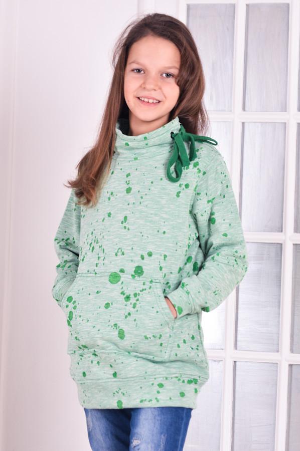 Толстовка  худи детская для девочки салатовая от 6 до 10 лет (116;122;128;134;140)