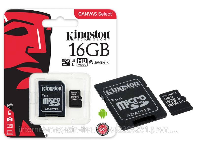 Карта памяти Kingston Canvas Select micro SDHC 16 GB class 10