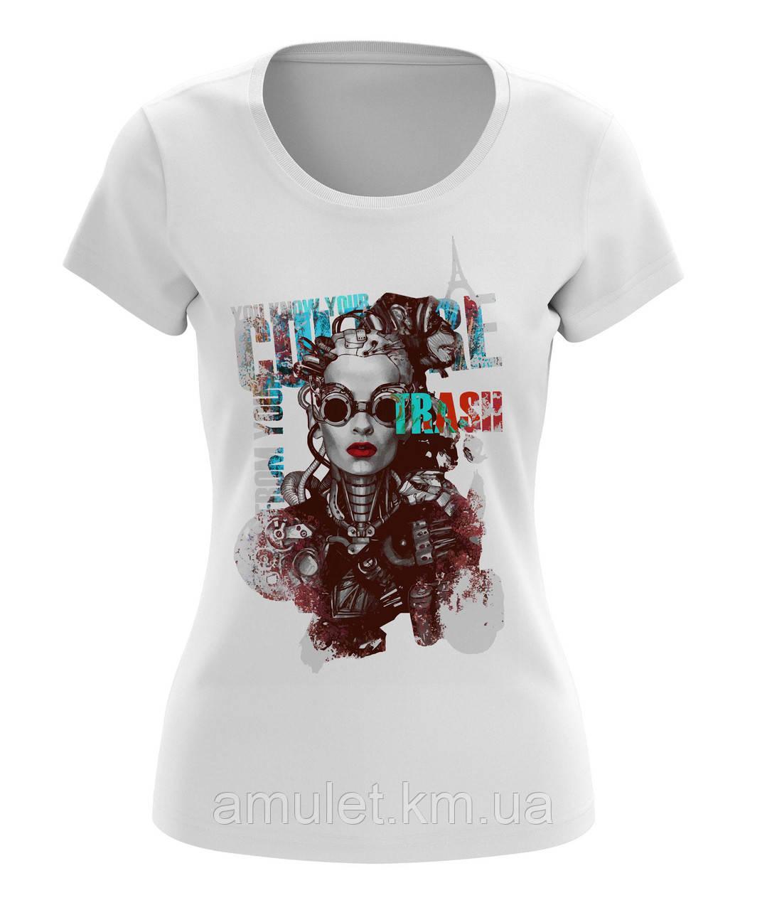 """Жіноча футболка з принтом """"Жінка-робот"""""""