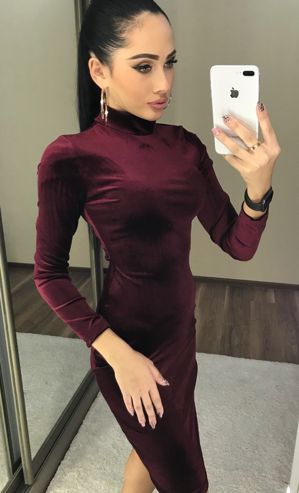 Платье женское бархатное