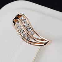 Вдохновляющее кольцо с кристаллами Swarovski, и позолотой 0215