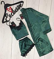 Изумрудный комплект для дома 007-017, женский халат + майка и шорты.