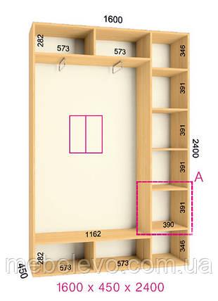 Шкаф-купе 2 двери Стандарт 160х45 h-240, ТМ Феникс, фото 2